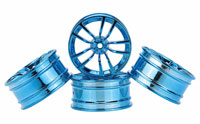 Austar 5-Double Spokes Aluminum Wheel Blue Chrome 26mm 3mm Offset 4pcs
