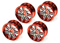 Austar 7-Double Spokes Aluminum Wheel Red/Chrome 26mm 4pcs