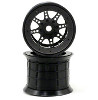 Axial 8 Spoke Beadlock Monster Truck Wheels HEX17 Black 2pcs