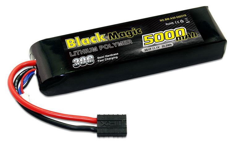 Аккумулятор Black Magic 3S LiPo Battery 11.1V 5000mAh 30C with Traxxas Connector (BM-A30-5003TR) (нажмите для увеличения)