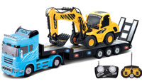 Heavy Truck with Excavator 2in1 Blue 1:32
