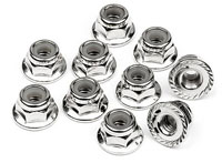 Serrated Flanged Lock Nut M4 Silver 10pcs