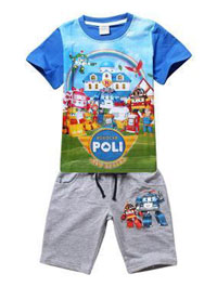 Robocar Poli Friends T-Shirt Blue with Shorts Grey 95 (нажмите для увеличения)