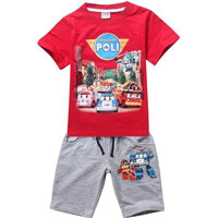 Robocar Poli Friends T-Shirt Red with Shorts Grey 100 (нажмите для увеличения)
