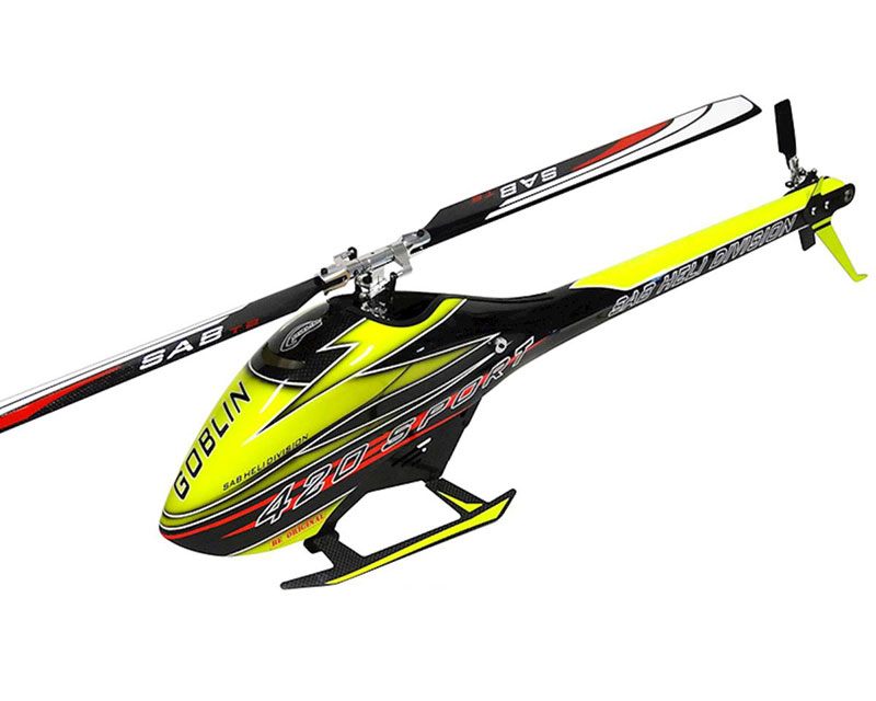 Радиоуправляемый вертолёт SAB Goblin 420 Flybarless Electric Helicopter Yellow/Black Kit with Blades (SG420) (нажмите для увеличения)