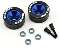 Machined Aluminium Blue-Anodized Ball Bearing Wheels with Rubber Tires 2pcs
